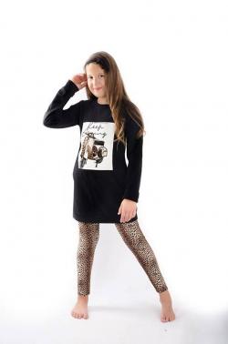 Bavlnená dievčenská tunika čierna LEO