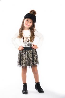 Dievčenská tylová sukňa s LEO vzorom