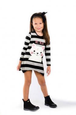 Bavlnená dievčenská tunika grey/black MIAU