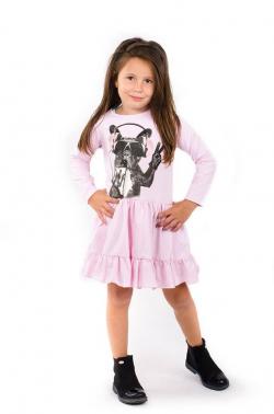 Dlhorukávová dievčenská tunika pink MM 580 DOG pink