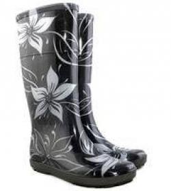 Dievčenské gumáky - čierno biele kvety