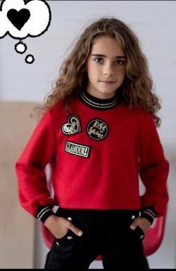 Dievčenský pulover s aplikáciu červený