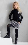 Dievčenská čierno biela sukňa-kraťase 2v1