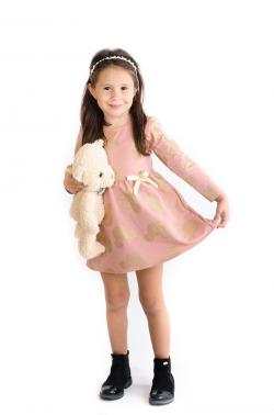 Ružovozlatá dievčenská tunika - šaty