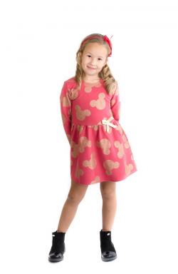Malinovozlatá dievčenská tunika - šaty