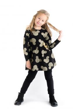 Čiernozlatá dievčenská tunika - šaty