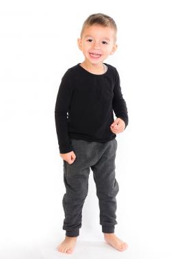 Sivé zateplené bavlnené nohavice