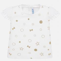 MAYORAL dievčenské vzorované tričko 1057-056 gold