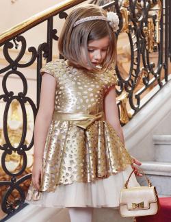 Zlaté exkluzívne dievčenské šaty ABEL&LULA 5528-003