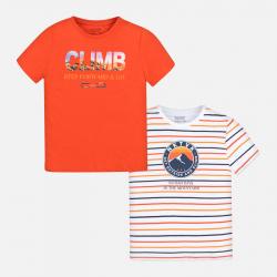 MAYORAL chlapčenské 2 PACK tričká 6066-089 brick red