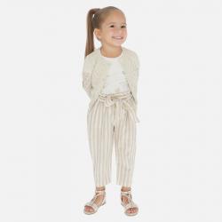 MAYORAL pásikavé dievčenské nohavice 3540-024 sand