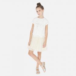 MAYORAL bavlnené šaty s tylovou sukňou 06986-050 natural