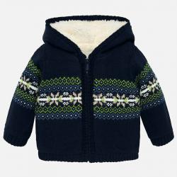 Chlapčenský sveter pletený s kapucňou MAYORAL 2332-021 dark blue