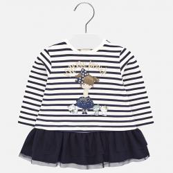 MAYORAL pásikavé dievčenské šaty s tylovou sukňou 2924-058 navy