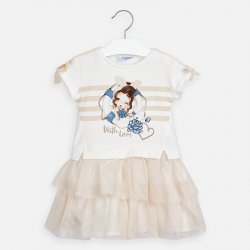 MAYORAL bavlnené šaty s potlačou a tylovou sukňou  3958-044