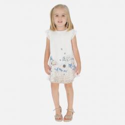MAYORAL dievčenské šaty s kvetinovou potlačou 3912-069 beige
