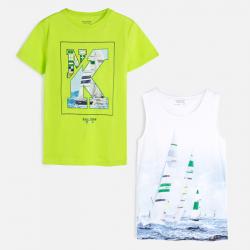 MAYORAL chlapčenské 2 PACK tričko+tielko 6072-073 neon acid