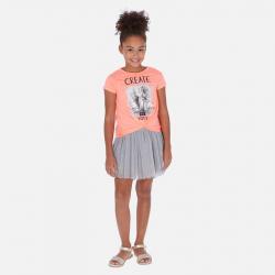 MAYORAL bavlnené šaty s tylovou sukňou 06986-051 flamingo