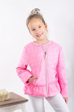 Dievčenský prešívaný jarný kabát ružový MM 231 pink