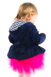 Prechodný kabát s volánikmi MM 233 modrý