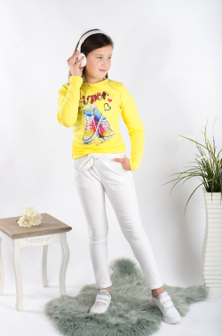 Dievčenské jarné nohavice biele s mašľou