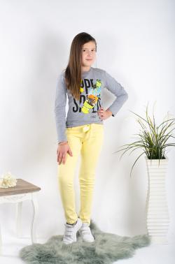 Dievčenské jarné nohavice s mašľou žlté