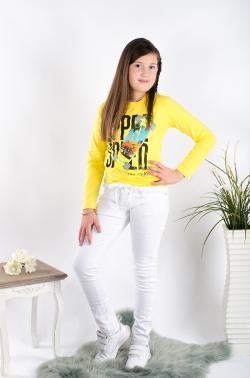 Dievčenské nohavice s mašľou na páse biele