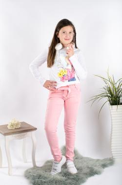 Dievčenské nohavice s mašľou na páse ružové
