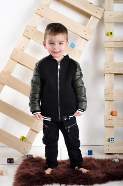 Chlapčenský prešívaný kabát khaki/black MM 234 green