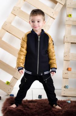 Chlapčenský prešívaný kabát black/yellow MM 234 gold