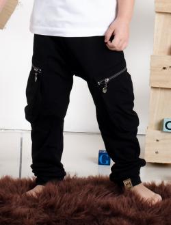 Chlapčenské bavlnené nohavice so zipsami BLACK
