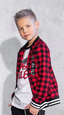 Bavlnená chlapčenská kockovaná mikina - kabát MM 924 rebel