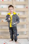 Chlapčenský rifľový kabát s kapucňou