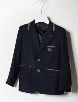 Modré chlapčenské sako s hnedou aplikáciou 20183
