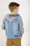 Chlapčenský rifľový kabát s kapucňou ORIGINAL