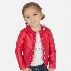 MAYORAL dievčenský kožený kabát 3464-020 Red