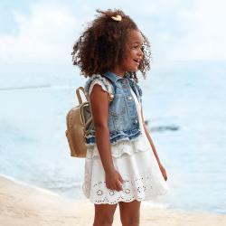 MAYORAL dievčenské vyšívané šaty 3947-075 Natural