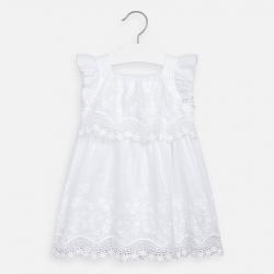 MAYORAL dievčenské šaty s výšivkou 3952-048 Wh