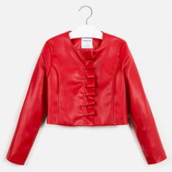 MAYORAL dievčenský kožený kabát  6457-052 red