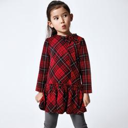 MAYORAL dievčenské kockované šaty  4990-010 red