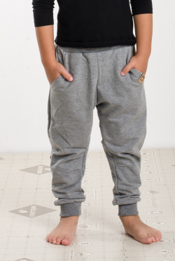 Sivé bavlnené nohavice tepláky