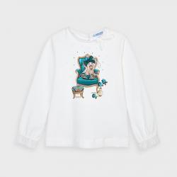 MAYORAL dievčenské tričko so psom 4061-064 green
