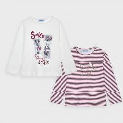 MAYORAL dievčenské tričká 2 pack 4066-088 cherry