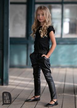 Dievčenské casual nohavice kožené