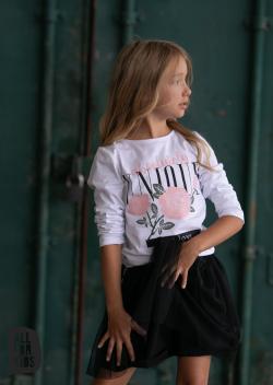 Dievčenské biele tričko s ružami ENJOY