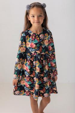 Dievčenské šaty tunika s kvetmi