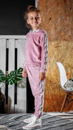 Ružová semišová mikina s kapucňou RK