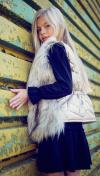 Dievčenská kožušinová vesta beige MM 241 Beige