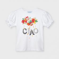 MAYORAL tričko s nazbierkanými rukávmi 3004-043 white