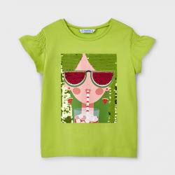 MAYORAL tričko s nazbierkanými rukávmi 3019-026 pistachio